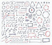 Handcrafted elements. Hand drawn vector arrows set on  white background. School style