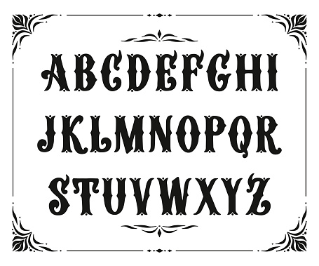 Handcrafted letters with Victorian decor. Vector font type design. Stylized logo text typesetting