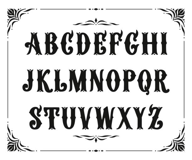 Handcrafted letters with Victorian decor. Vector font type design. Stylized logo text typesetting Handcrafted letters with Victorian decor. Vector font type design. Stylized logo text typesetting alphabet borders stock illustrations