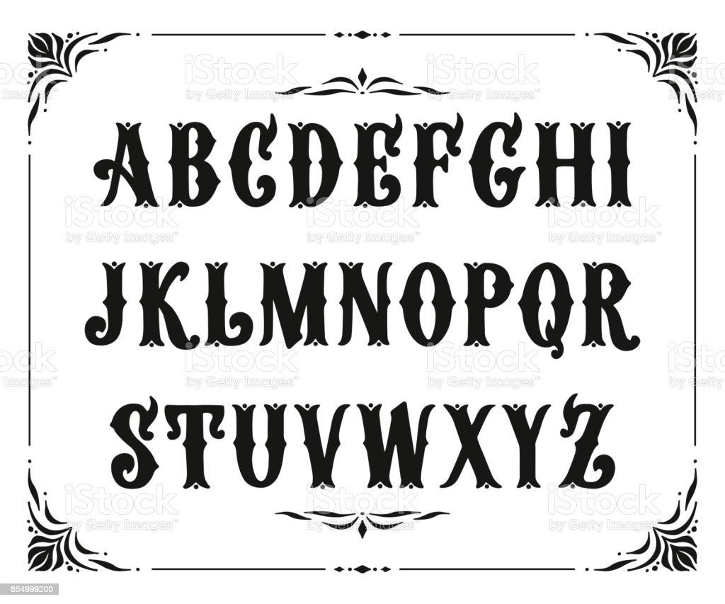Handcrafted letters with Victorian decor. Vector font type design. Stylized logo text typesetting vector art illustration