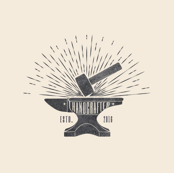 Handcrafted. Vintage styled vector illustration of the hammer and anvil vector art illustration