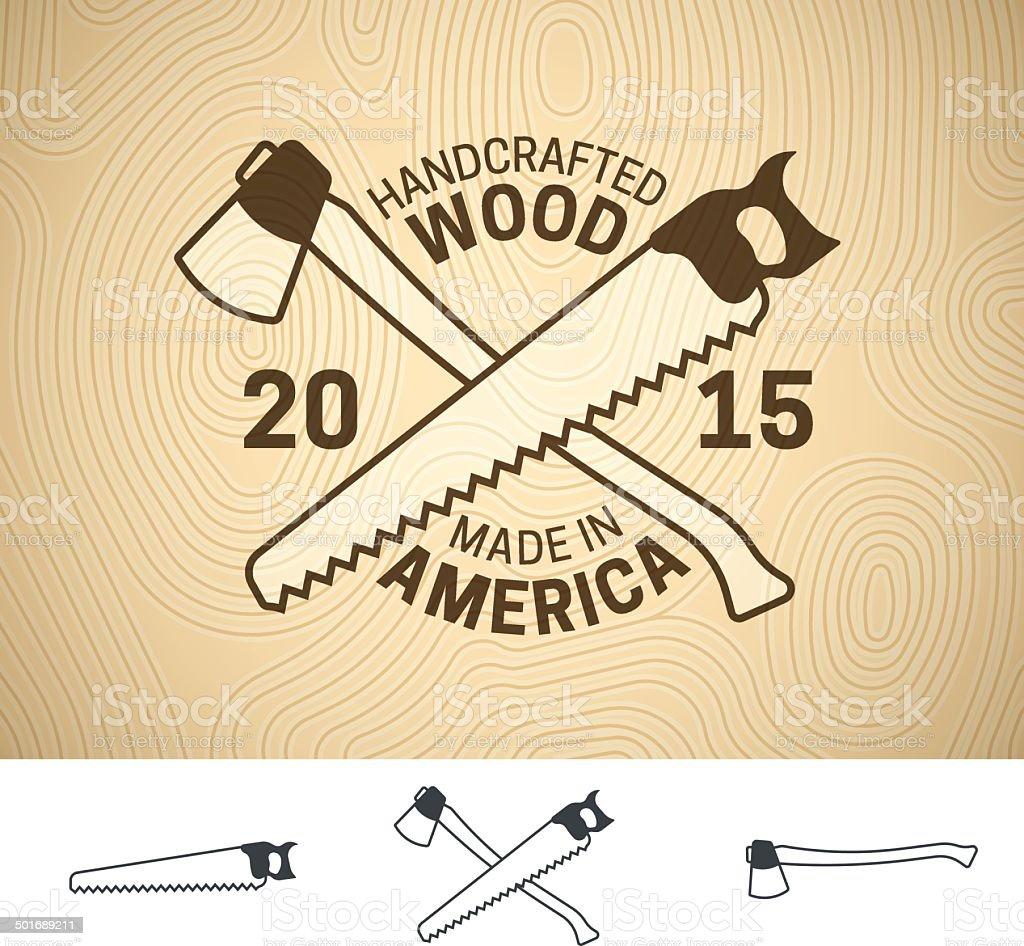 Handcrafted Wood vector art illustration