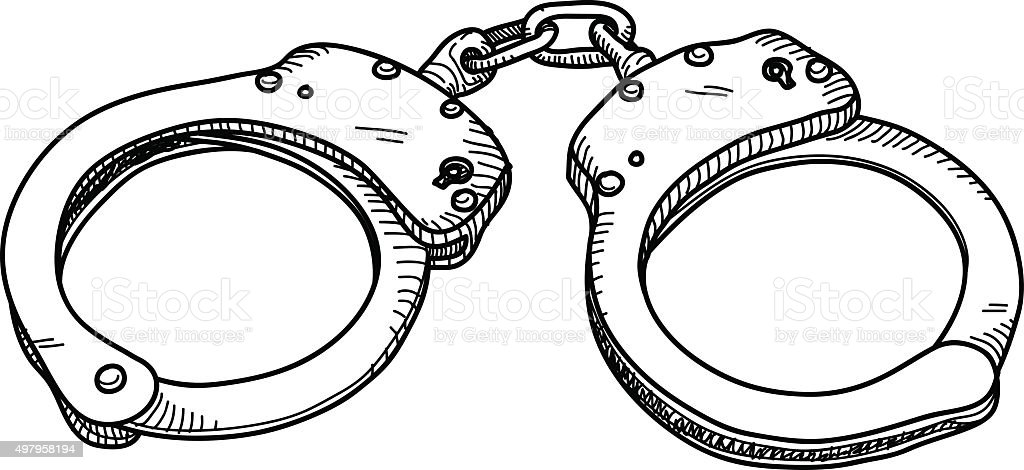handcuff drawings clip art, vector images & illustrations - istock