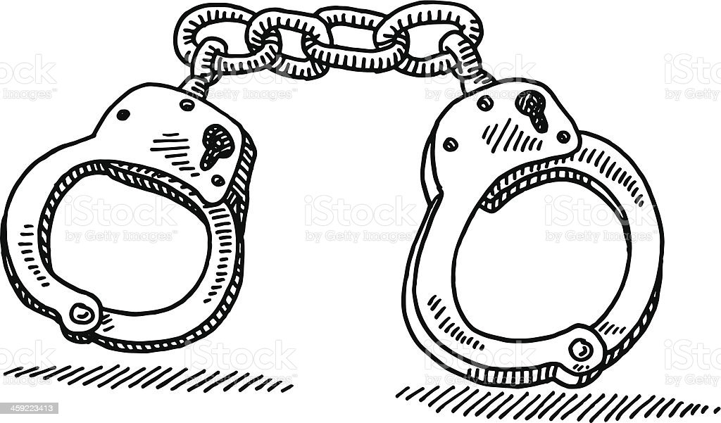 handcuffs drawing stock vector art 459223413 | istock