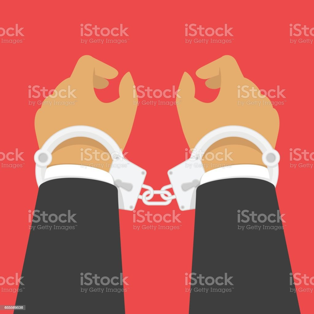 Handcuffs on his hands. vector art illustration