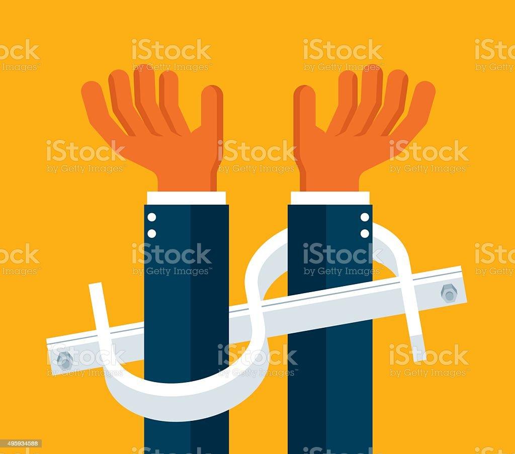 Handcuffs vector art illustration