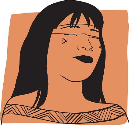 Hand-draw outline portrait of a tribal woman with orange sample color