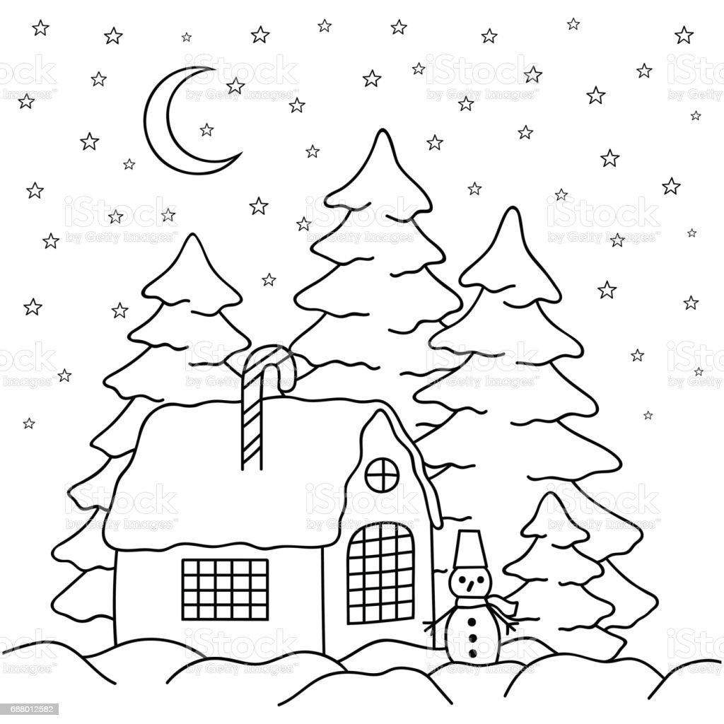 Handdraw Village House Behind The Fence Coloring Book Page
