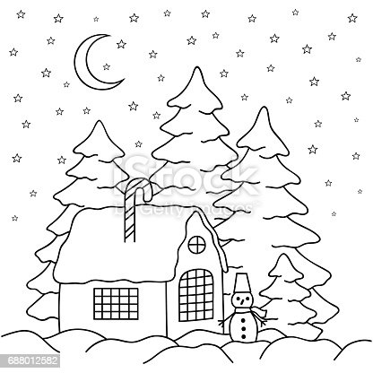 Handdraw Village House Behind The Fence Coloring Book Page For Adults And Children Winter Country Landscape Moon Stars Firtrees Snowman Stock Vector