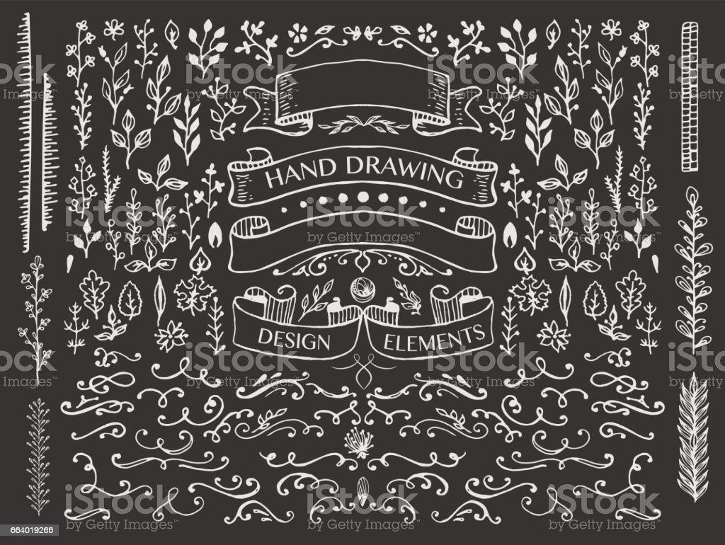 hand-drawing design elements vector art illustration