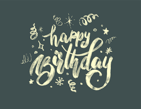 """hand-drawing modern lettering """"happy birthday"""" on white background"""