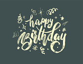 "hand-drawing modern lettering ""happy birthday"" on white background"