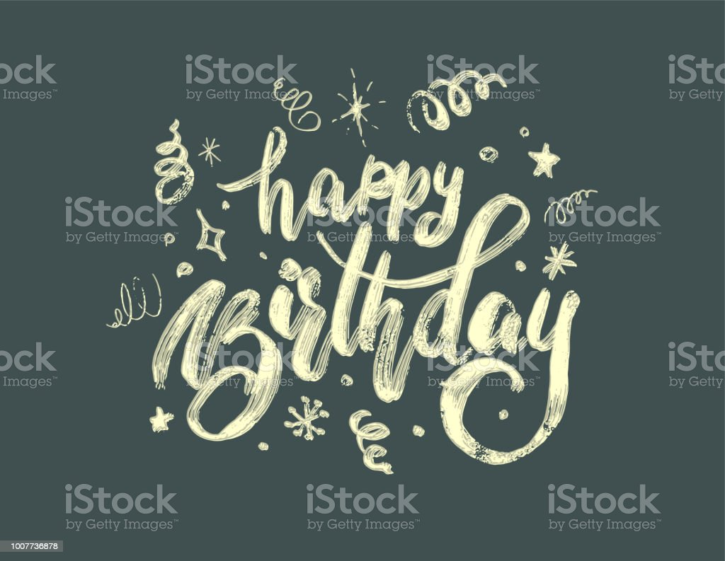 hand-drawing modern lettering 'happy birthday' on white background vector art illustration