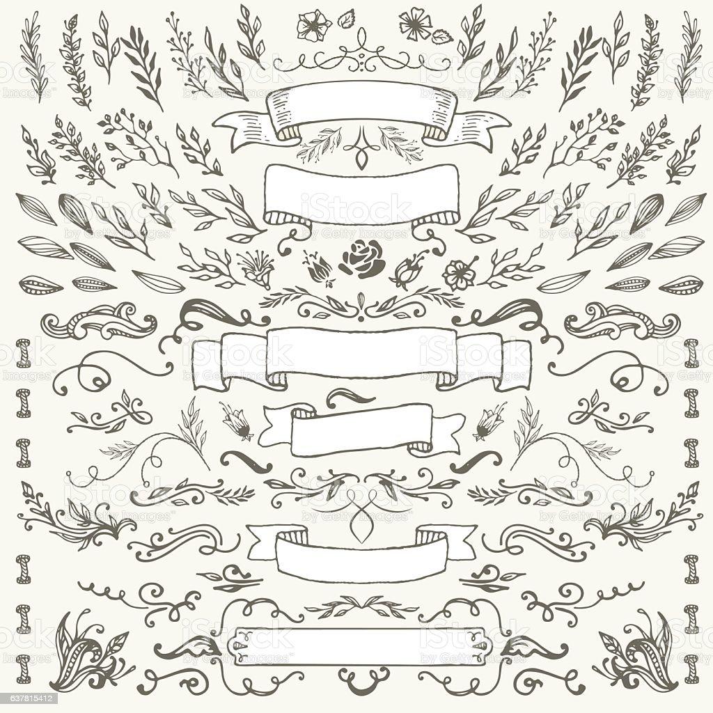 hand-drawing vintage frames vector art illustration