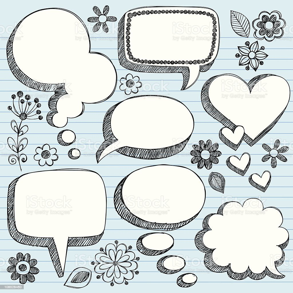 Hand-Drawn 3D Speech Bubbles Sketchy Doodles vector art illustration