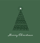 hand-drawn Chrismas tree, christmas card.  You can edit the colors or sizes easily if you have Adobe Illustrator or other vector software. All shapes are vector