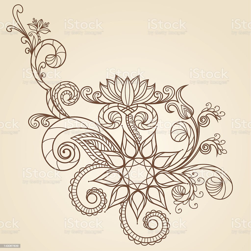 handdrawn abstract henna mehndi flowers and paisley stock vector