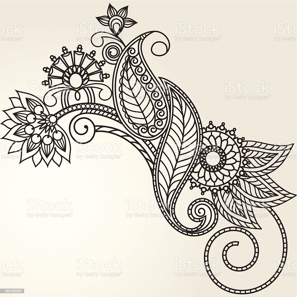 handdrawn abstract henna mehndi flowers and paisley stock