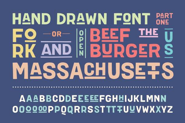 Hand-drawn alphabet and font. Part One Hand-drawn alphabet and font. Bold, regular and medium uppercase letters, alternative characters. Hand-drawn sketch sans serif font for design, advertising, typographic. Part One. Vector Illustration alphabet drawings stock illustrations
