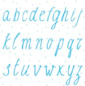 Handdrawn alphabet, block letters