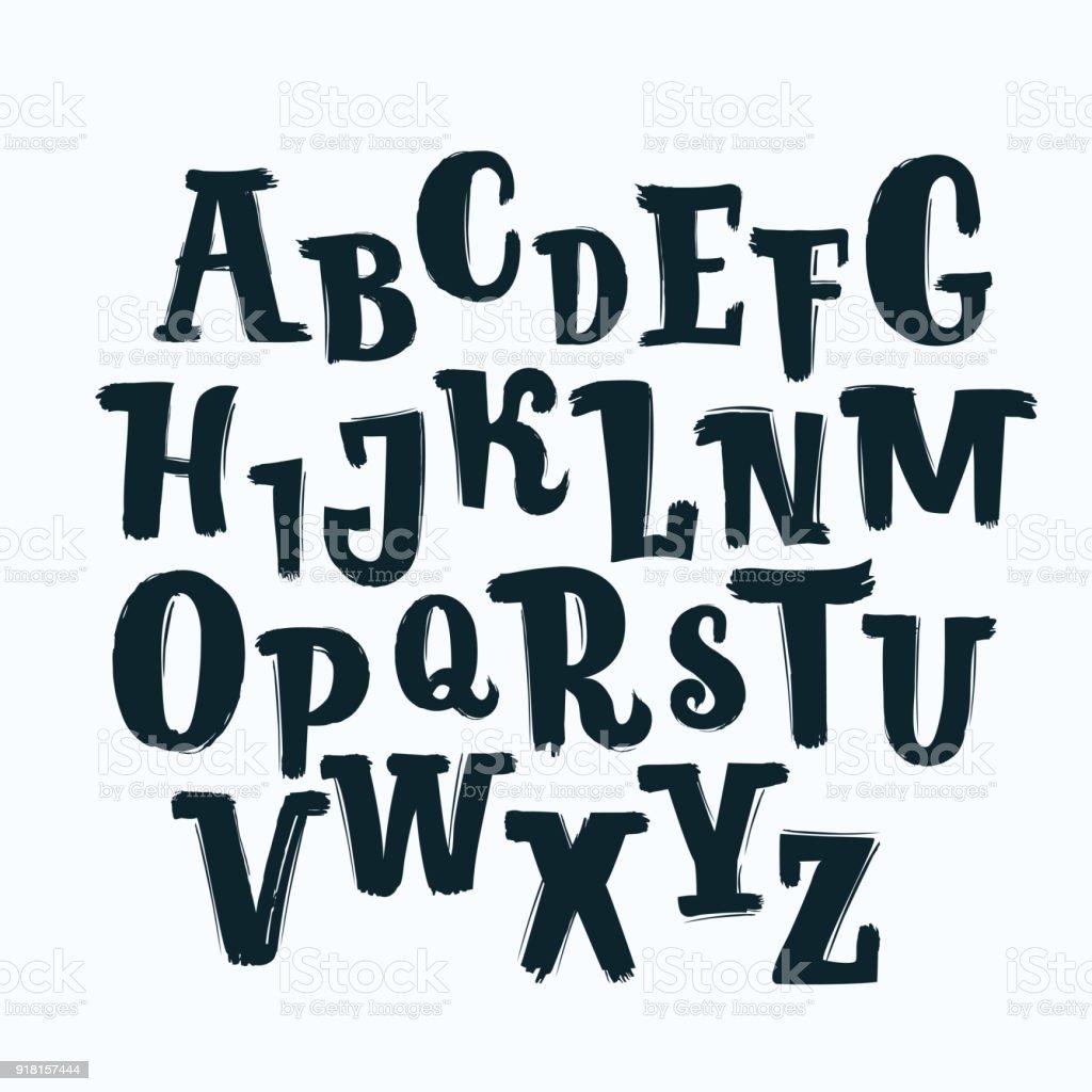 Handdrawn Alphabet Calligraphy Font Modern Brush Lettering Grunge Style  Alphabet Stock Illustration - Download Image Now