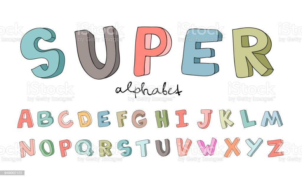 Handdrawn alphabet font letters doodle abc for kids vector hand drawn alphabet font letters doodle abc for kids vector illustration altavistaventures Gallery