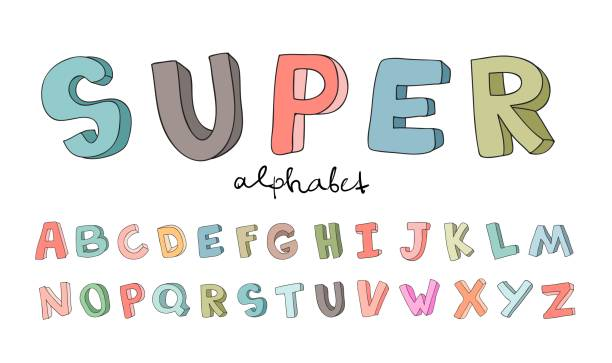 hand-drawn alphabet, font, letters. doodle abc for kids. vector illustration isolated on white background. - alphabet drawings stock illustrations