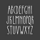 Hand-drawn alphabet in art nouveau style.