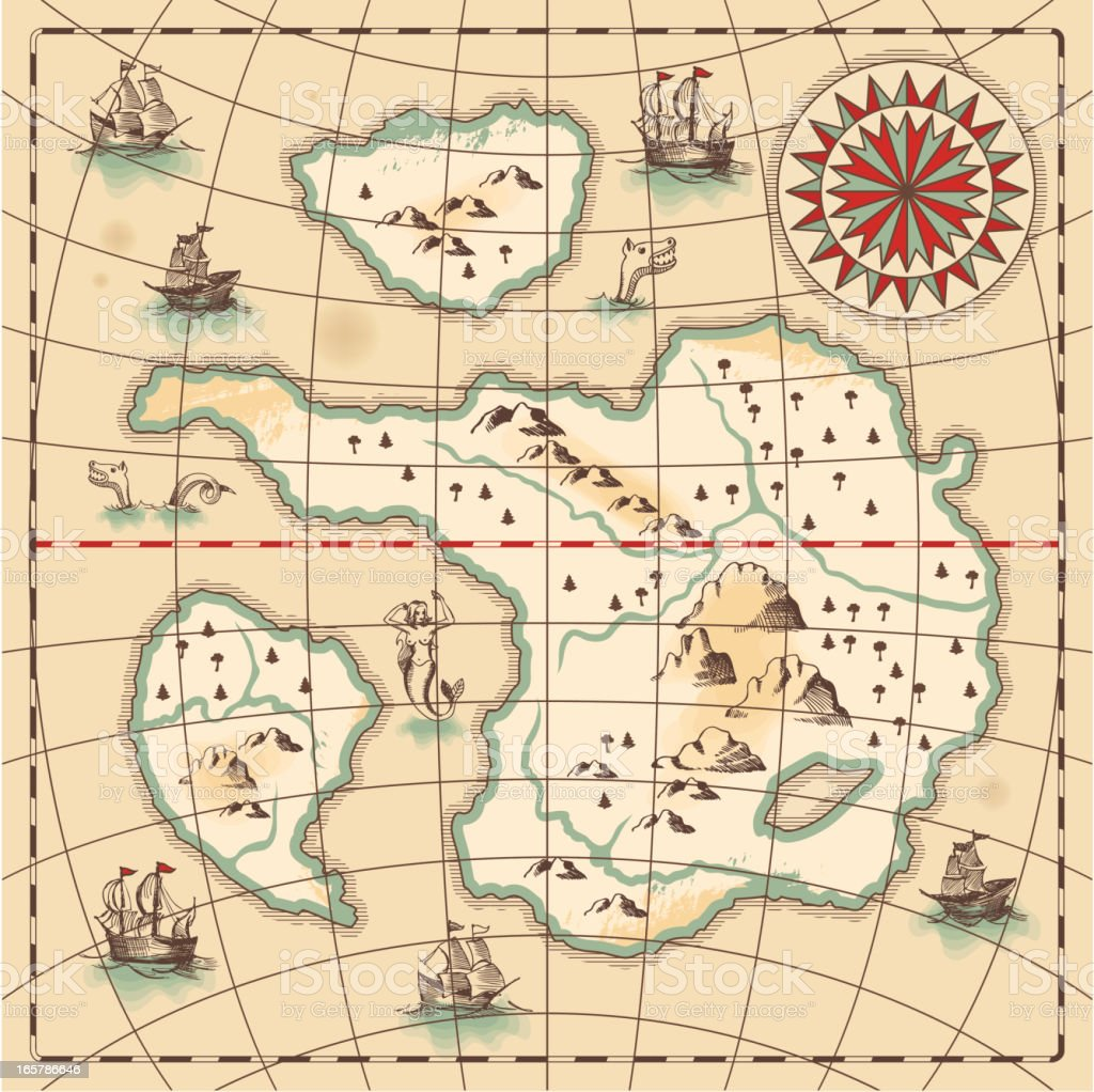 Hand-drawn antique ocean map. royalty-free handdrawn antique ocean map stock vector art & more images of adventure