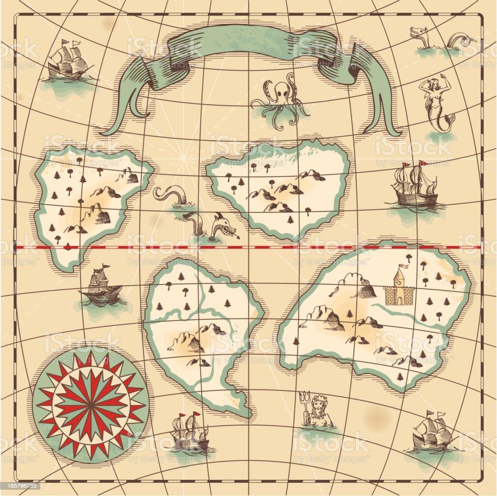 Hand-drawn antique ocean map. royalty-free stock vector art