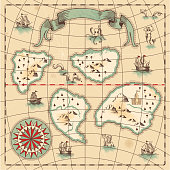 Hand-drawn antique ocean navigation fantasy map