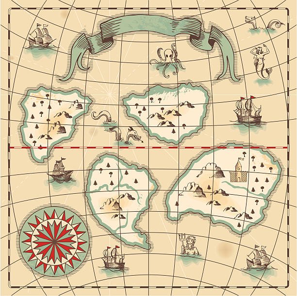 hand-drawn antique ocean map. - treasure map backgrounds stock illustrations