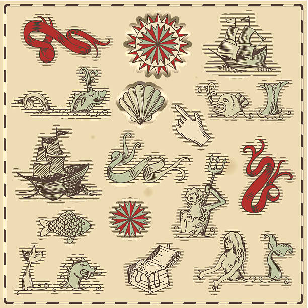 hand-drawn antique ocean navigation icons - treasure map backgrounds stock illustrations