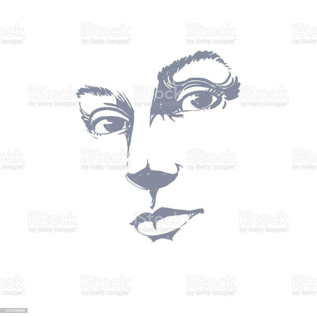 Illustration Visage handdrawn art portrait of whiteskin romantic woman face emotions