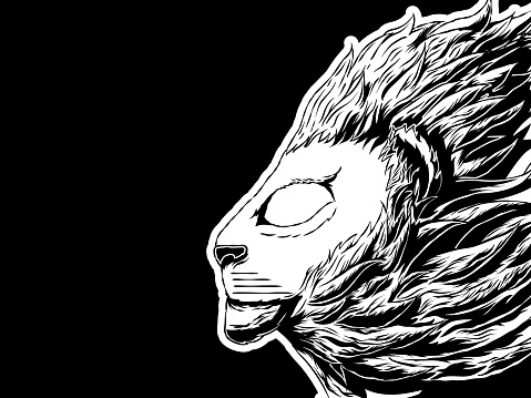 Hand-drawn banner illustration - A lion in profile.
