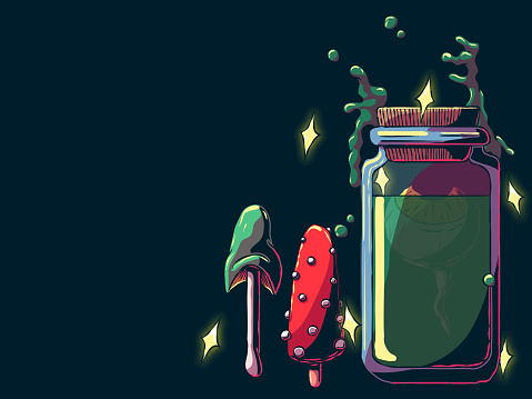 Hand-drawn banner illustration - Eye in a jar and mushrooms.