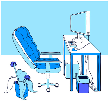 Hand-drawn Banner Illustration - Office Workplace.