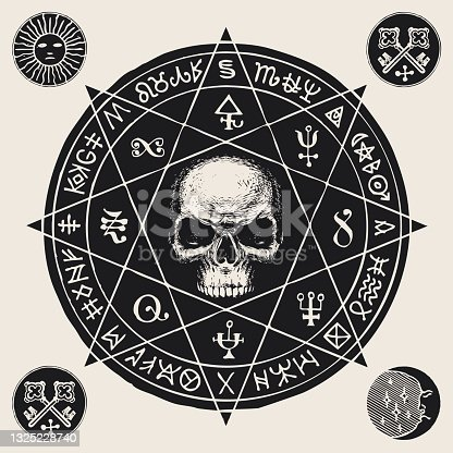 istock hand-drawn banner with a human skull and runes 1325228740