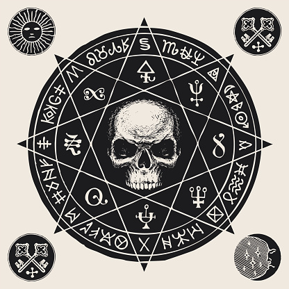 hand-drawn banner with a human skull and runes
