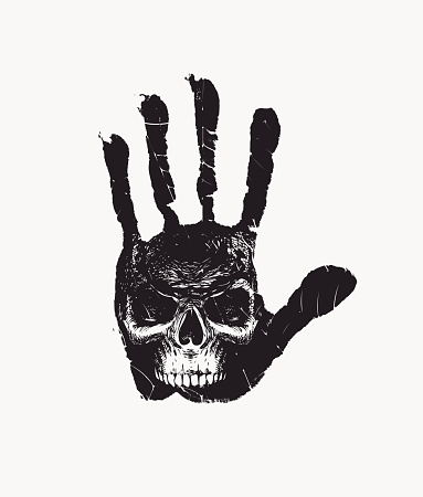 hand-drawn banner with handprint and human skull