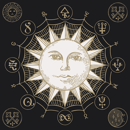 hand-drawn banner with the Sun and magic symbols