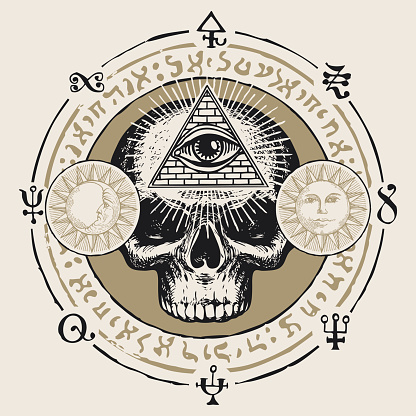 hand-drawn banner with third eye on a human skull