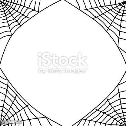 istock Hand-drawn black and white spiderweb frame 1347389130