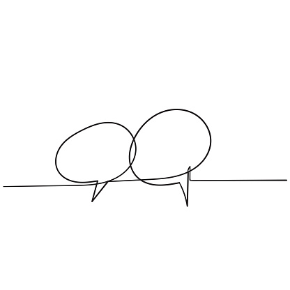 handdrawn bubble speech illustration with one single line style clipart
