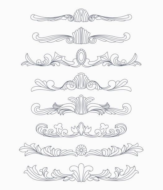 ilustrações, clipart, desenhos animados e ícones de mão desenhada à mão divisórias - bordas florais