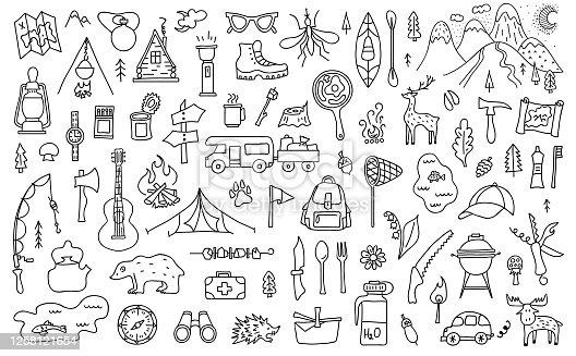 Hand-drawn camping elements. Vector travel linear symbols.