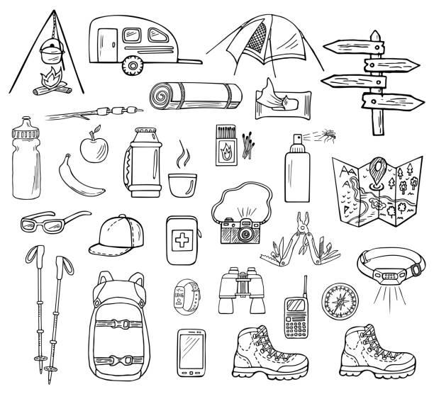 手描きのキャンプベクトルアイコン - キャンプ点のイラスト素材/クリップアート素材/マンガ素材/アイコン素材