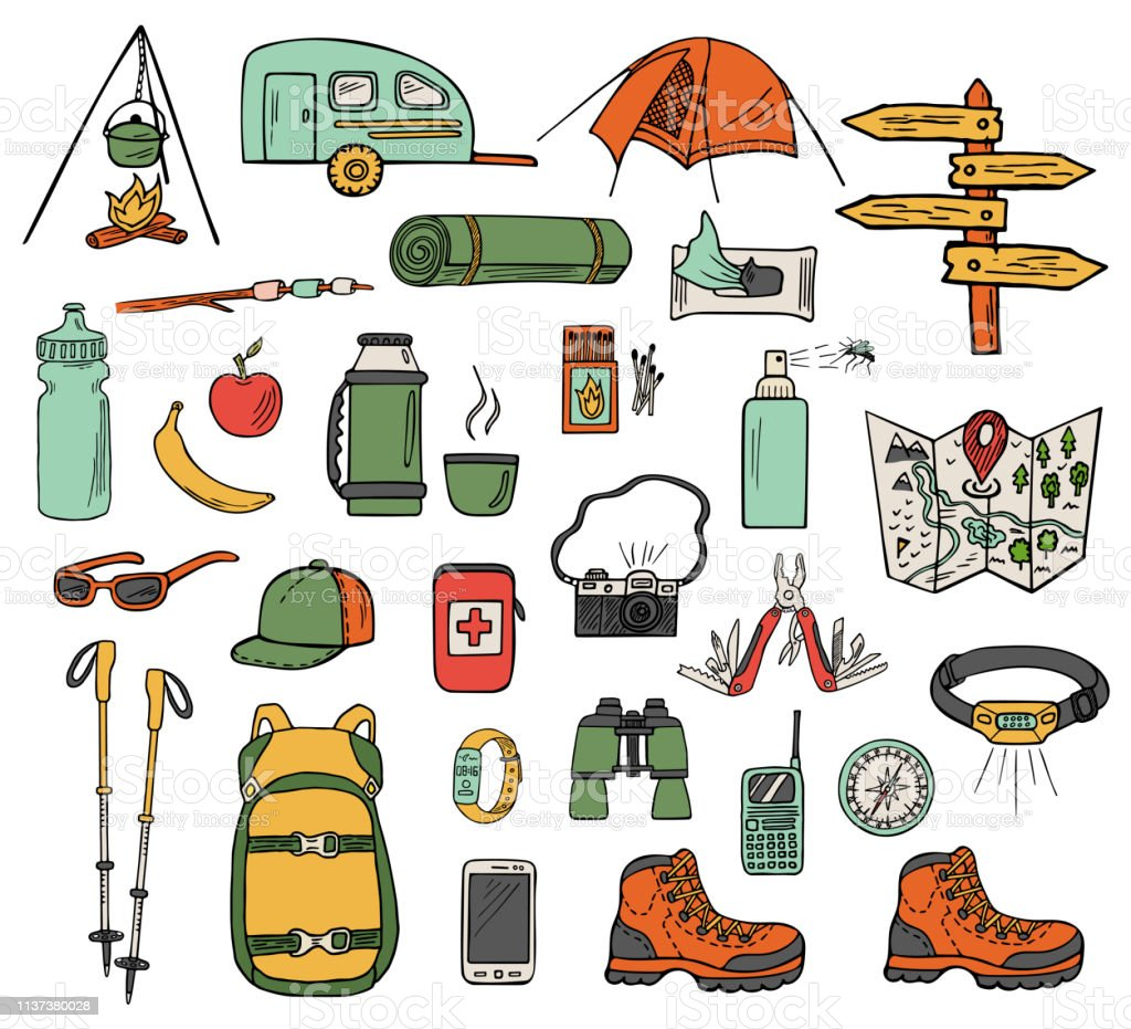 Set of hand-drawn camping icons isolated on white background. Doodle...