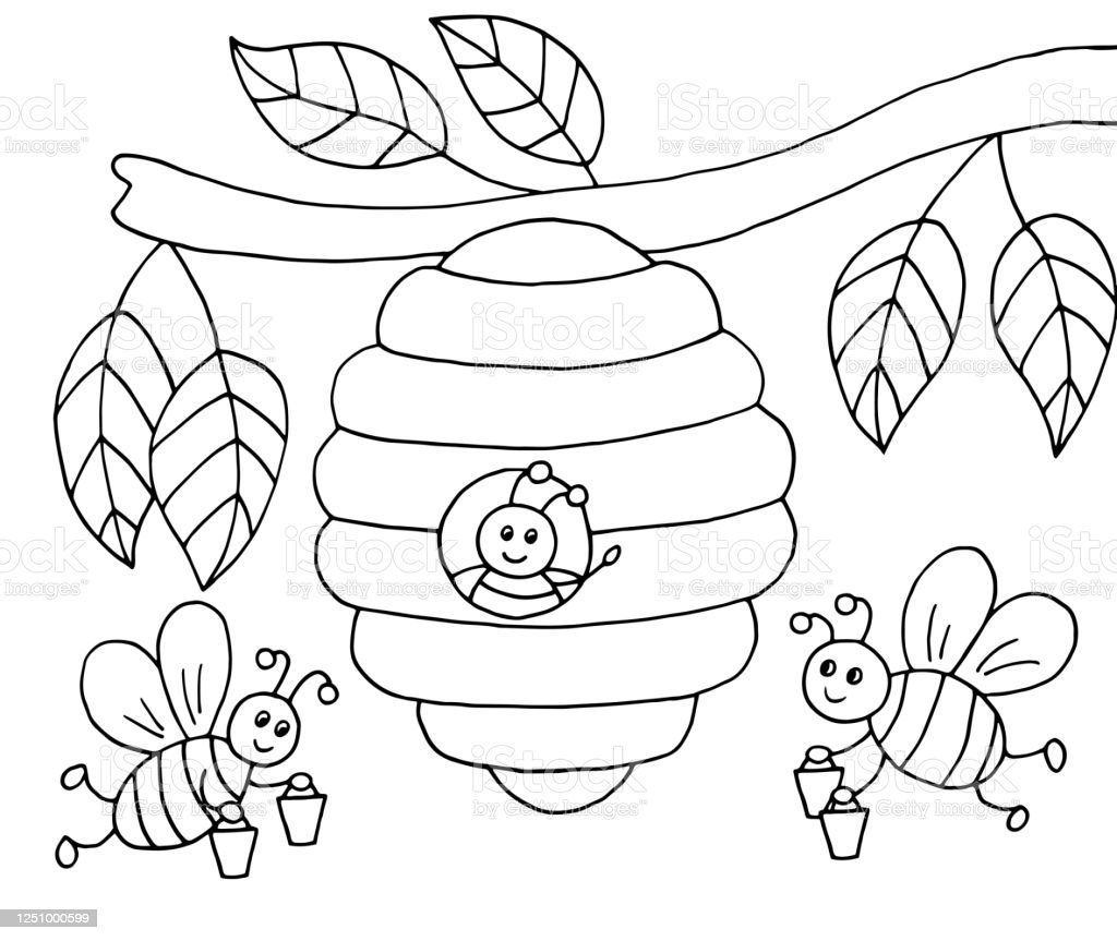 Handdrawn Cartoon Bees With Honey And A Beehive On A Tree Coloring Page Stock Illustration Download Image Now Istock