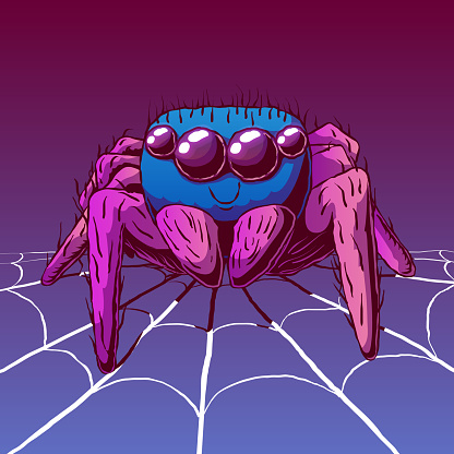 Hand-drawn cartoon cute illustration - Smiling spider on a spider web.